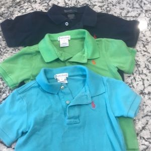 3 polo collared shirts.